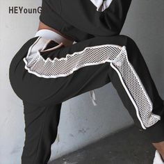 HEYounGIRL Patchwork Mesh Women Sweatpants Black White Baggy Casual Pants Hollow Out Sexy Trousers Streetwear Holes Side Pants Men Street, Street Wear, Fashion Pants, Fashion Outfits, Fashion Sweatpants, Men's Fashion, Fashion Tips, Cheap Pants, Grunge