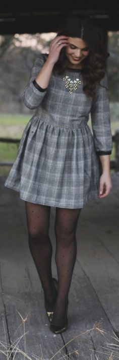 "Girly Tweed Dress. Love textured clothes. Says ""tweed"" but it's actually a Glen Check pattern."