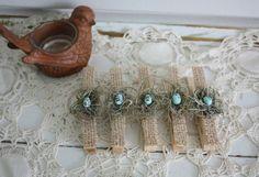 Bird nest #clothespins set with robin eggs