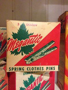 "Vintage ""Megantic"" brand clothes pin packaging."