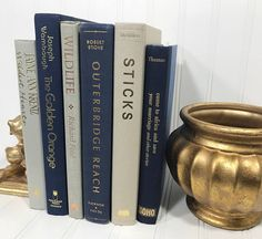 Navy Blue and Tan Decorative Book Set. Shelf decor Mantel Decor Shelf decorating mantel decorating. Buy On Etsy Now