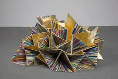 Inversion (Seventh Wonder) 2007-08 Wood, gold leaf, acrylic, and color aid paper strips 20 x 10 x 9 inches