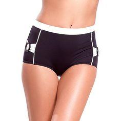Sauipe Swimwear Jackie Bottom (356826701) ($74) ❤ liked on Polyvore featuring swimwear, bikinis, bikini bottoms, retro swimwear, black white bikini, black and white high waisted bikini bottoms, retro swim wear and high waisted bikini bottom swimwear