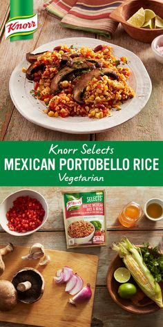Mushroom umami meets new flavorful Knorr® Selects Rustic Mexican Rice & Beans, a gluten-free rice dish made with no artificial flavors or preservatives. We especially love the extra dimension of flavor from the tangy, quick-pickled onions and cilantro. Dig in!
