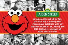 Custom Elmo Invitation (birthday, baby shower, etc) OR Thank You Card 12 pic first birthday card via Etsy