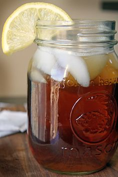 some good ole sweet tea in a mason jar with lots of ice after a hard day's work