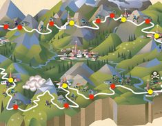 Illustrated map for Wallpaper* Magazine and the June 2012 issue. 336 km Alpine Ultra-marathon in Northern Italy.