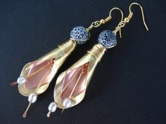 Unique Handmade Mixed Metal Earrings-Gold and by AnnaRecycle