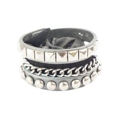 Punk Gothic 3 Layer Stud Chain Faux Black Leather Wide Bracelet... (24 CNY) ❤ liked on Polyvore