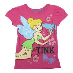 Disney Fairies printed T-shirt will make her look so pretty. The short sleeved pink tee features a Tinker Bell whimsical print with glitter accents that add a special girly flair. She will surely enjoy the softness of this casual garment.