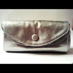 LuLu Multi Compartment Silver Pewter Clutch Bag Silver / Pewter Color / Multiple Compartments LuLu Bags Clutches & Wristlets
