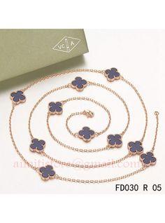 Van Cleef & Arpels Vintage Alhambra 10 Motifs Lapis lazuli Long Necklace Pink Gold
