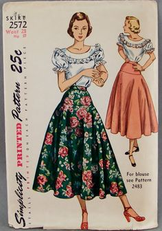 """Flared Full Circle Skirt on Yoke Uncut 1948 Vintage Simplicity 2572 Sewing Pattern Ha Ha! And I thought this was a """"modern"""" idea, to have a hip yoke on a circle skirt!"""