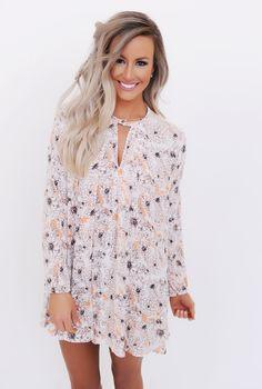Peach Floral Keyhole Dress - Dottie Couture Boutique