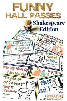These funny hall passes are a perfect edition to your middle or high school classroom. Each one contains a different Shakespeare reference to entertain and intrigue your students. Included 20 different passes - each has a color and a blackline version