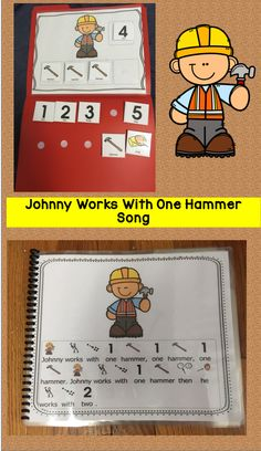 Johnny Works With One Hammer This is a popular children song with accompanying actions that has everyone singing and moving! This is a great circle time fun that allows students to manipulate the numbers and hammers. There are two different sizes in this Preschool Music, Preschool Lessons, Circle Time Songs, English Language Learners, Kids Songs, Speech And Language, Second Grade, Teaching Resources, It Works