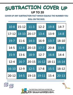 subtraction games subtraction cover up 20