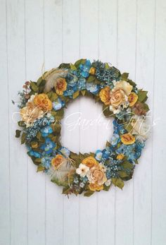 TURQUOISE FLORAL WREATH,  Summer Wreath, Floral Wall Arrangement, Home Decor, Housewarming, Cottage Chic, Floral Wall Art by FlowerGardenGifts on Etsy https://www.etsy.com/uk/listing/243526081/turquoise-floral-wreath-summer-wreath