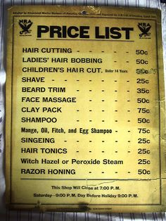 Vintage 1930's Union Barbershop Price List 50 Cent Cut | eBay