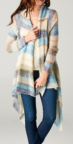 Blue & Beige Stripe Mohair-Blend Open Cardigan