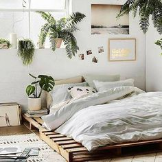 """512 curtidas, 5 comentários - DIY Home (@diyhomebr) no Instagram: """"Mais um quarto com camas de pallet e muitas plantas fonte: Gravity Home #decor #decoracao…"""""""