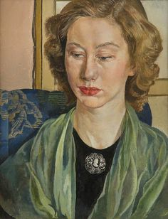 Daphne Spencer with a Green Scarf - Stanley Spencer , 1953 British, Oil on canvas, x cm Stanley Spencer, Female Portrait, Portrait Art, Female Art, Portrait Paintings, Oil Paintings, Woman Painting, Figure Painting, Painting & Drawing
