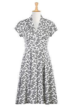 I <3 this Feminine pleated floral cotton knit dress from eShakti