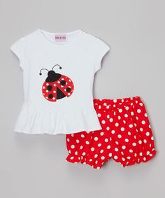 Look what I found on #zulily! White & Red Ladybug Tee & Polka Dot Bloomers - Toddler & Girls by HH & Me #zulilyfinds