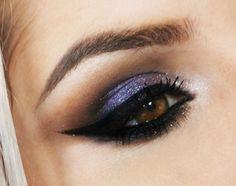 Tutorial – maquiagem roxa cintilante. Degradê bonito no côncavo