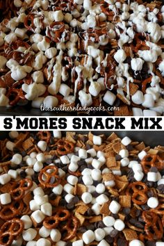 S'mores snack mix is easy and delicious. Make this for any event or holiday and your family and guests will love it. Snacks To Make, Snacks For Work, Healthy Work Snacks, Quick Snacks, Yummy Snacks, Diet Snacks, Delicious Desserts, Christmas Snack Mix, Holiday Snacks
