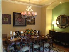 Painting a dining room with beautiful coordinating color palletes.
