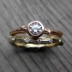 Diamond Twig Engagement and Wedding Ring Set: by KristinCoffin