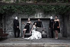 """3. Does this say """"serial killer chic"""" to anyone else? This bridal party has a """"Zombies and Vamps"""" theme."""