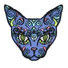 Sugar Skull Cat Iron On Patch Embroidery Sewing DIY Customise Denim Cotton Halloween Rockabilly Psychedelic Mexico Floral Day of the Dead Sugar Skull Images, Sugar Skull Cat, Sugar Skulls, Pin And Patches, Iron On Patches, Bag Patches, Graffiti Tattoo, Cat Patch, Candy Art