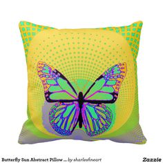 Butterfly Sun Abstract Pillow by Sharles