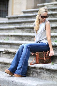 Peace, Love & Louis Vuitton: Zara suede fringed top, 7 For All Mankind high-waist bootcut jeans, flare jeans outfit, 70s style fringe top, vintage Louis Vuitton bag