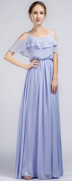Long Ruffled Off Shoulder Passion Chiffon Bridesmaid Dress TBQP332