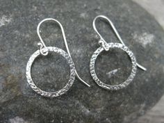 Simple Circle Sterling Silver Earrings Hammered by ESDesigns14, $16.00