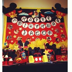 Mickey Mouse theme birthday cake  Party decors by Mariel's Party Creations
