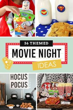 Themed Movie Night Ideas for Kids with ideas for snacks and activities! So many fun family movie ideas that could even been turned into a birthday party! Movie Themed Movie Night Ideas for Family - From The Dating Divas Movie Night For Kids, Movie Night Snacks, Dinner And A Movie, Movie Night Party, Family Movie Night, Family Movies, Family Family, Disney Movie Nights, Night Food