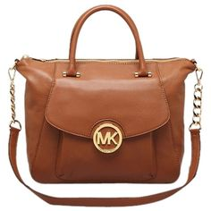 Pre-owned Michael Michael Kors Large Fulton Tan Tan, Luggage Satchel ($200) ❤ liked on Polyvore featuring bags, leather purse, tan leather satchel, genuine leather handbags, leather satchel and genuine leather purse