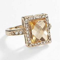 #LCLaurenConrad Gold Tone Simulated Crystal Halo Ring