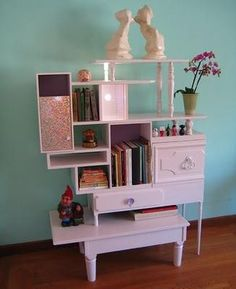 Repurposing furniture to make one quirky functional piece.  Very cool!