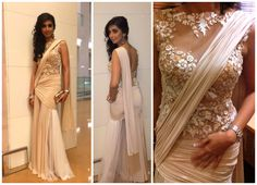 Lycra Saree Gown embellished with beadwork and embroidery