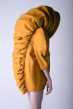 "Leyre Valiente - Chimaera. Just when I thought, ""Man, I wish someone would create a jacket that would make me look like a hybrid banana slug / caterpillar and somewhat prevent me from being able to see...oh and would repel all men from me""...here ya go. My wish has come true."