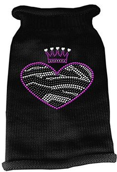 Mirage Pet Products Zebra Heart Rhinestone Knit Pet Sweater Medium Black ** Learn more by visiting the image link.