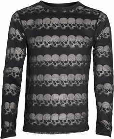 Gothic mesh shirt with transparent skull pattern, by Queen of Darkness clothing.