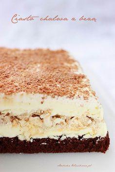 Arabeska : Ciasto chałwa z bezą Polish Desserts, Polish Recipes, Sweet Recipes, Cake Recipes, Dessert Recipes, Delicious Desserts, Yummy Food, Cake Bars, Happy Foods