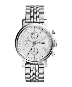 Boyfriend silver-tone chrono watch by Fossil on secretsales.com