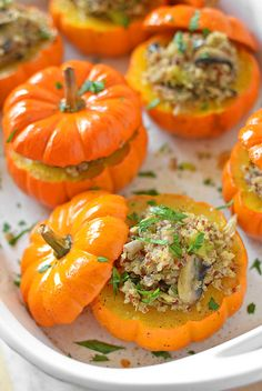 Savory Mushroom and Quinoa Stuffed Mini Pumpkins - Easy to make and deliciously sweet and savory, these adorable little stuffed pumpkins will be the hit of your next fall gathering! | SimpleSeasonal.com